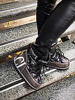 Морозостойкие луноходы MoonBoot Guc! черные и сталь с паетками натуральная кожа + лак