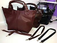 Большая женская модельная сумка2 отделения только БОРДО , фото 1