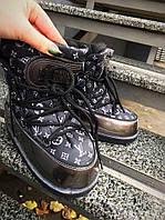 Морозостойкие луноходы MoonBoot Loui& Vui//on черные и сталь натуральная кожа + лак