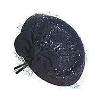 Обруч на голову шляпка чёрная с бантом и вуалью, 12см