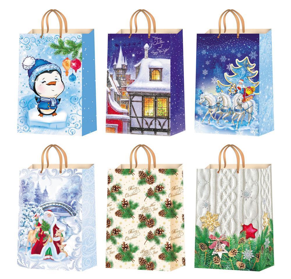 Подарочные пакеты новогодние размер 38 х 24 см (12 шт./уп ...