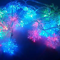 Гірлянда кольорова 28 лампочок мікс сніжинки