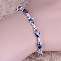 Женский серебряный браслет на руку с мистик топазом, фото 1