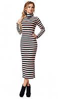 Женское трикотажное платье макси с принтом полоска кораллового цвета. Модель 1028, фото 1