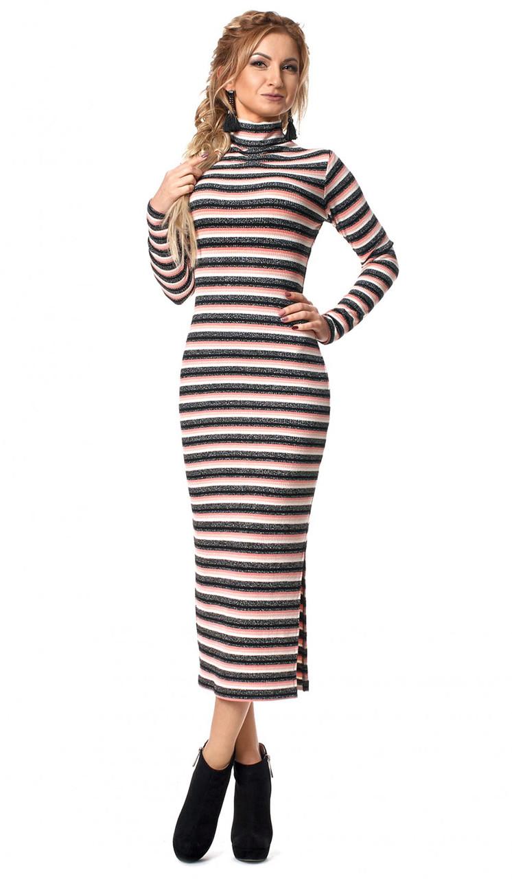 Женское трикотажное платье макси с принтом полоска кораллового цвета. Модель 1028