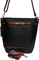 Женская сумка из эко кожи с цветным ремнем