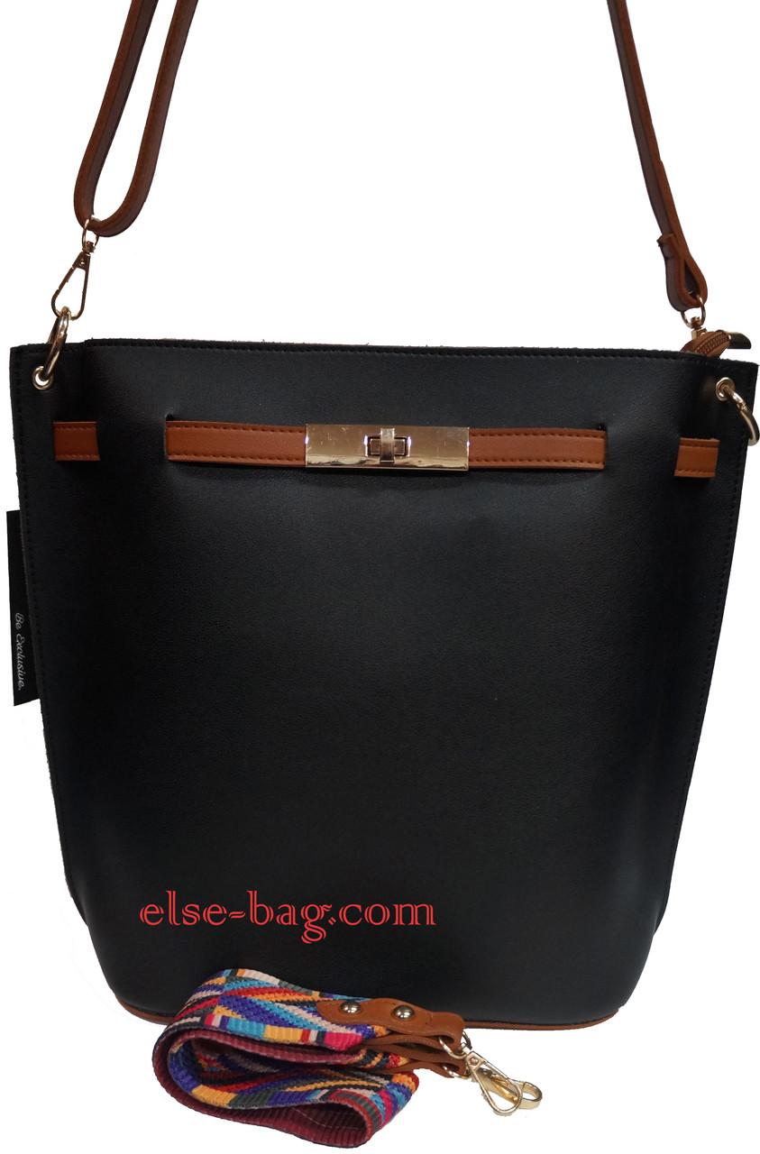 2466c5a43f55 Женская сумка из эко кожи с цветным ремнем -