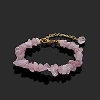 Браслет с натуральными камнями  «Розовый кварц»