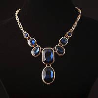 """Колье с кристаллами синий камень под """"золото"""""""