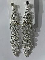 Белые длинные свадебные серьги с белыми камнями оптом из Китая 771
