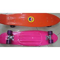 Скейт SC17027 металл.крепления, колёса PU,зелёный, оранж., фиолет., синий,розов.,черн. 75*20см