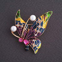 """Брошь """"Бабочка"""" с малиновым кристаллом цветная эмаль 4х3см цвет металла """"золото"""""""