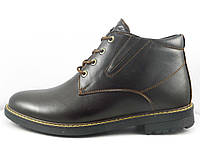 Ботинки из натуральной кожи на змейке коричневые, фото 1