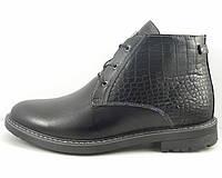 Ботинки со вставкой из крокодиловой кожи черные, фото 1