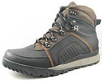Ботинки мужские кожаные с накладными деталями черные / Модель 246/1