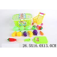 Овощи и фрукты 681-8 12 шт,дел.поп,корз,тележка,доска,нож,в пакете 26,5*16*13см