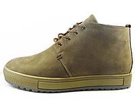 Комфортные мужские зимние ботинки на меху коричневые