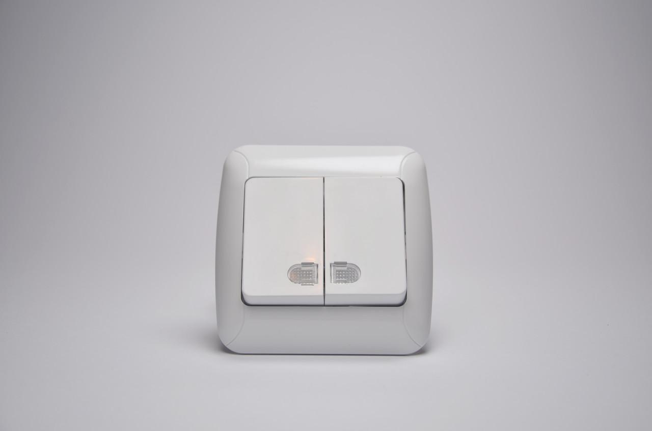 Выключатель GUNSAN Fantasy Встроенный 2 клав(разъем) Белый  Подсв