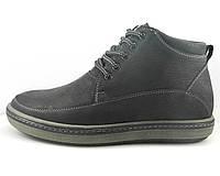 Зимние мужские ботинки с нашивной союзкой черные, фото 1