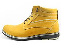 Желтые мужские ботинки зимние из нубука, фото 1