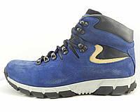 Зимние ботинки из натуральной кожи с цельной союзкой синие, фото 1