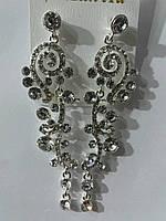 Элитные свадебные украшения с цирконием. Белые серёжки оптом 786