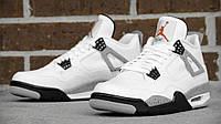 Кроссовки баскетбольные мужские Air Jordan IV Retro White/Black (кроссовки баскетбольные), черно-белые