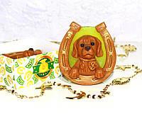 Мыло подарочное ручной работы «Собачка» (апельсин, лайм, мята)