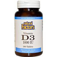 Витамин Д3, Vitamin D3, 1000 МЕ, Natural Factors, 180 таблеток
