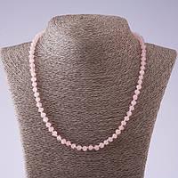 Бусы из натурального камня Розовый кварц граненная шайба d-6мм L- 50см