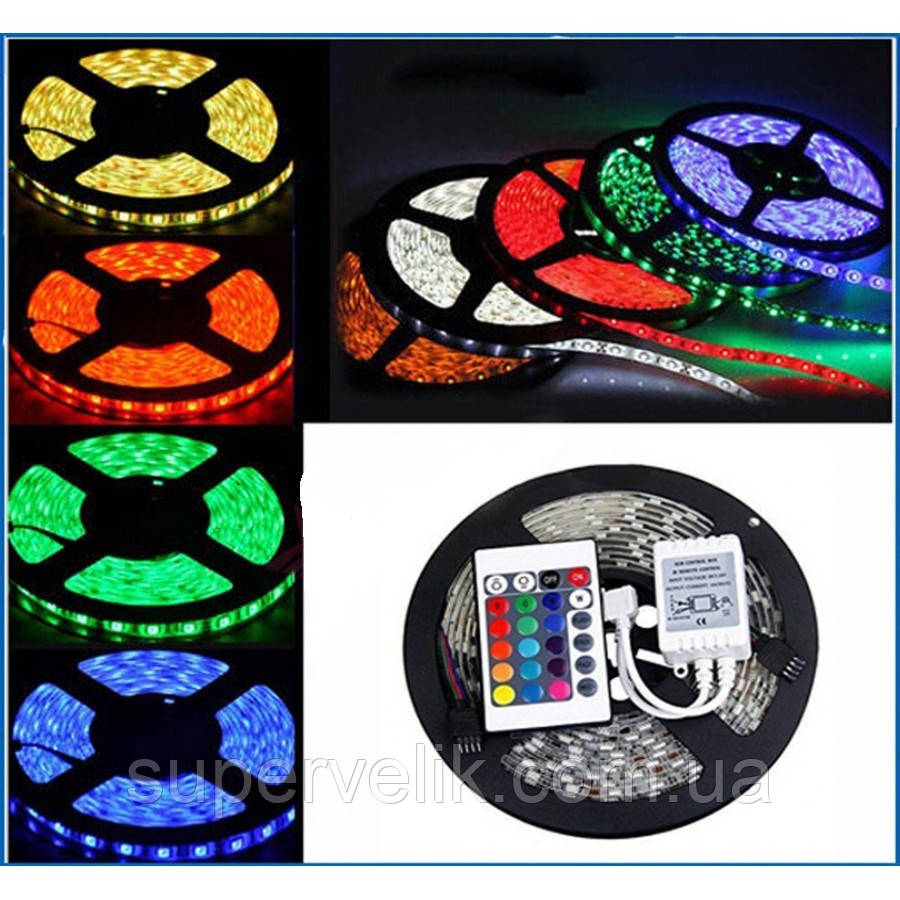 Светодиодная лента RGB 5050 +КОНТРОЛЛЕР+ПУЛЬТ+БЛОК ПИТАНИЯ. LED лента полный комплект