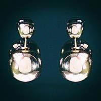 """[15/8 мм] Cерьги  пуссеты шары """"матрешка"""" Dior металлик золото"""