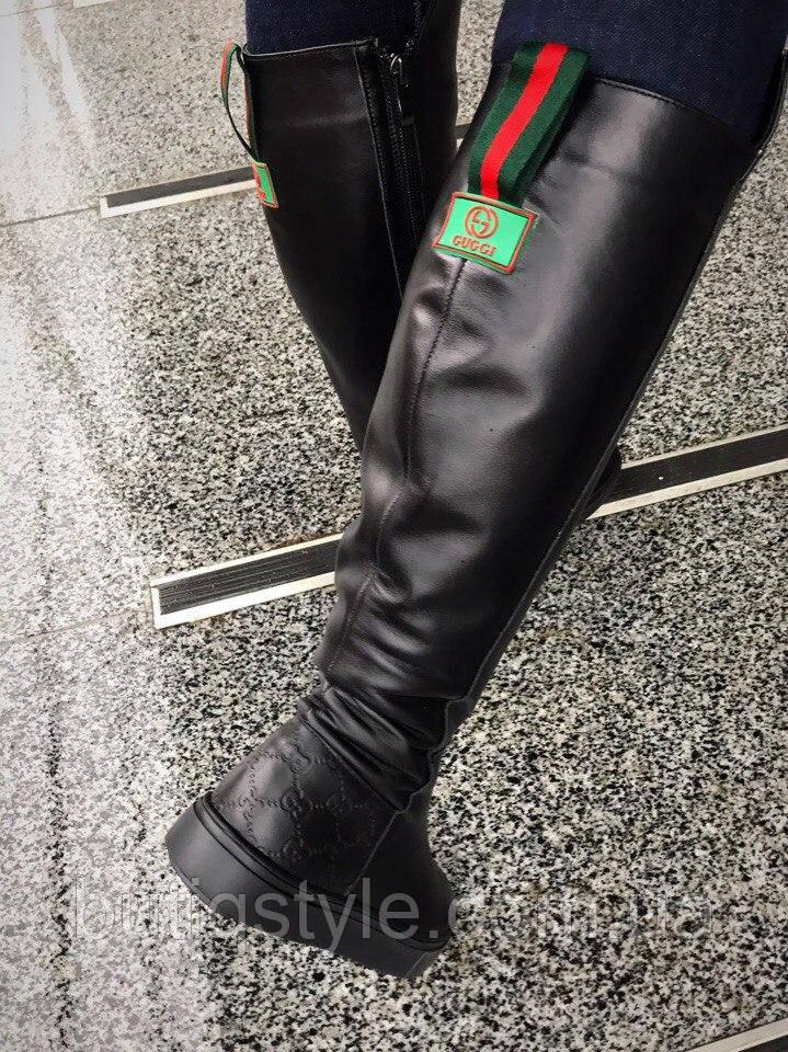 36 размер! Женские зимние черные сапоги кожа Guчi на низком каблуке