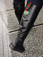 Только 36 и 41 размер! Женские зимние черные сапоги кожа Guчi на низком каблуке