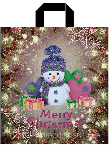 Пакет  37*43см Снеговик в фиолетовом