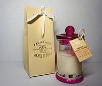 Арома свеча дизайнерская подарочная ПРЕМИУМ  Prada Candy 110гр Д=6см Н=11см в стеклянном подсвечнике