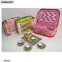 Посуда металл S066A/B/C 3 вида,поднос,чайник,чашки,тарелки, чемодан