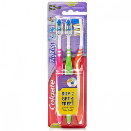 Зубная щетка Colgate ZigZag 2+1 средняя жесткость, фото 2