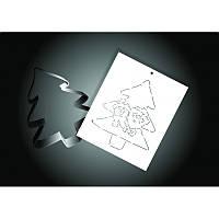 """Вырубка + трафарет для пряника """"Елка со снеговиком"""""""