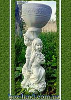 """Скульптура с чашей кашпо """"Малята"""" (белый мрамор)"""