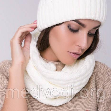 Снуд-хомут белый с косами, вязанный, шарф женский