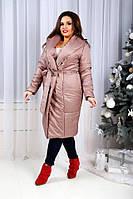Женское стильное пальто без пуговиц,с поясом
