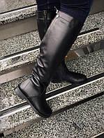 Зимние кожаные сапоги с молнией сзади, мех по всех длине