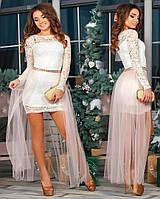 Короткое вечернее платье с юбкой из фатина (Черный, белый)
