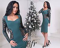 Платье футляр с красивым гипюром (Расцветка)