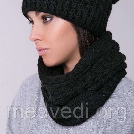 Снуд-хомут черный с косами, вязанный, шарф женский