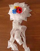 Детский нарядный бант с маками и васильками