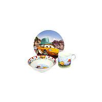 Набор детской посуды Тачки желтые