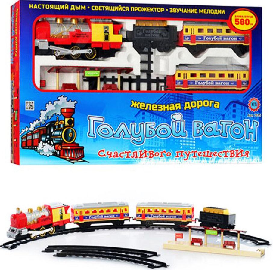 """Дитяча залізниця """"Блакитний вагон"""" 7016 (довжина шляхів 580 см) зі звуковими і світловими ефектами"""