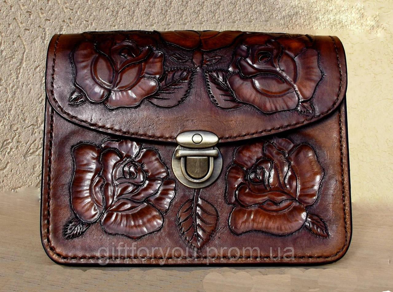 42df2bf92aed Сумочка ручной работы из натуральной кожи растительного дубления 17х14см -  Интернет-магазин